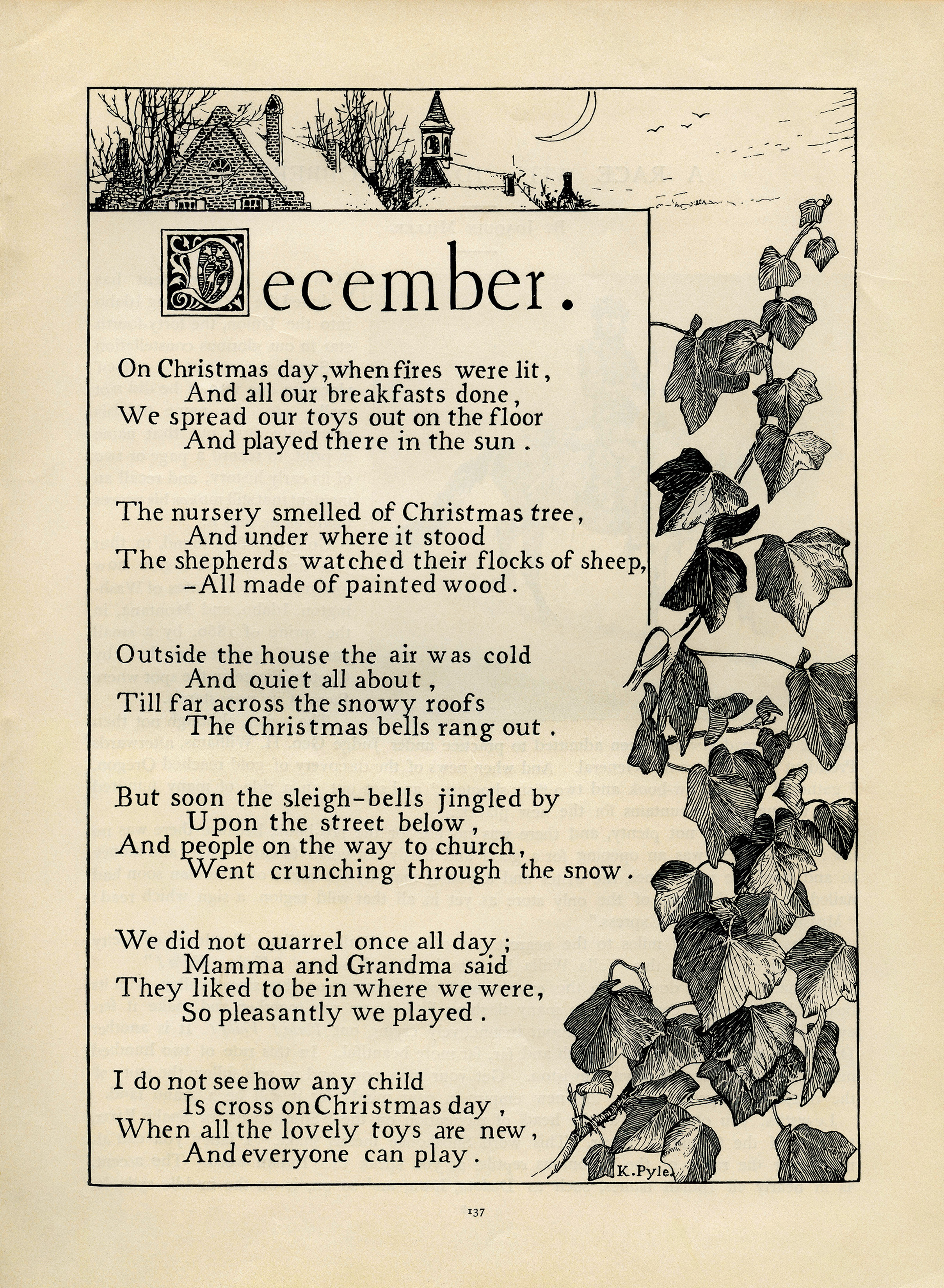 December By K Pyle Vintage Poem Old Design Shop Blog