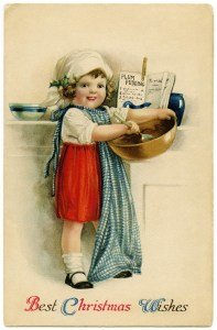 vintage Christmas postcard, Christmas girl baking, Victorian girl cooking, Ellen Clapsaddle