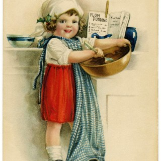 Victorian Girl Baking Plum Pudding