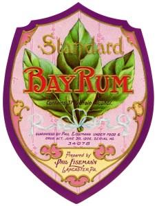 Bay Rum, vintage label, vintage ephemera, digital rum label, free vintage graphics
