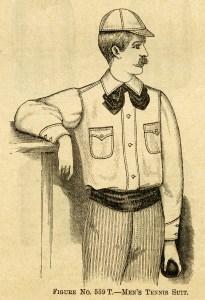 moustache man, Victorian fashion, vintage tennis suit, black and white graphics, vintage clip art
