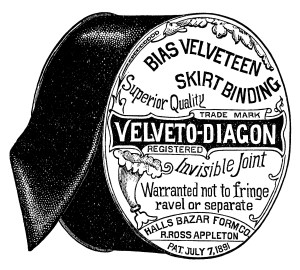 Appleton's skirt binding, vintage sewing, vintage advertisement, black and white graphics, sewing clip art, halls bazar form co