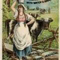 Lactart milk acid, Victorian trade card, vintage advertising card, vintage ephemera, milkmaid illustration