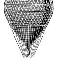 hot air balloon black and white vintage clip art