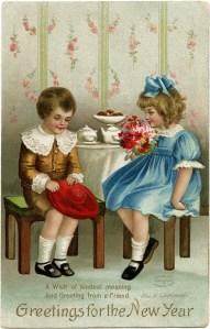 vintage New Year card, Ellen Clapsaddle, Victorian children clip art, boy girl vintage image