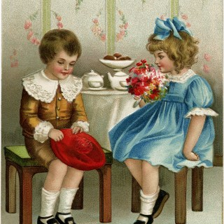 Victorian Children New Year Postcard