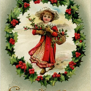 Victorian Girl Holly and Berries Christmas Clip Art