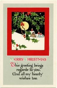 vintage Christmas, snowy village, antique Christmas card, Christmas clip art, vintage postcard graphics