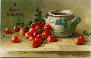 vintage New Year card, Catherine Klein, pottery and cherries, cherry clip art, vintage postcard