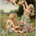 vintage valentine postcard, cherubs and hearts, valentine clip art, vintage cupid, printable valentine