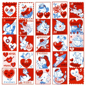 free vintage clip art childrens valentine stamps