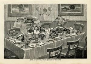 free vintage kitchen printable Mrs Beeton table setting breakfast