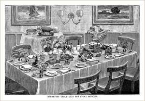 free vintage kitchen clip art Mrs Beeton table setting breakfast