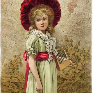 free Victorian clip art beautiful girl in green dress and red hat
