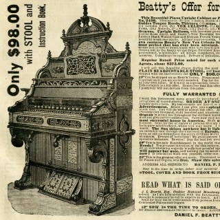 free vintage beatty's organ magazine advertisement clip art