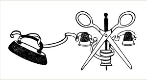 free vintage clip art sewing notions scissors thimble ribbon iron