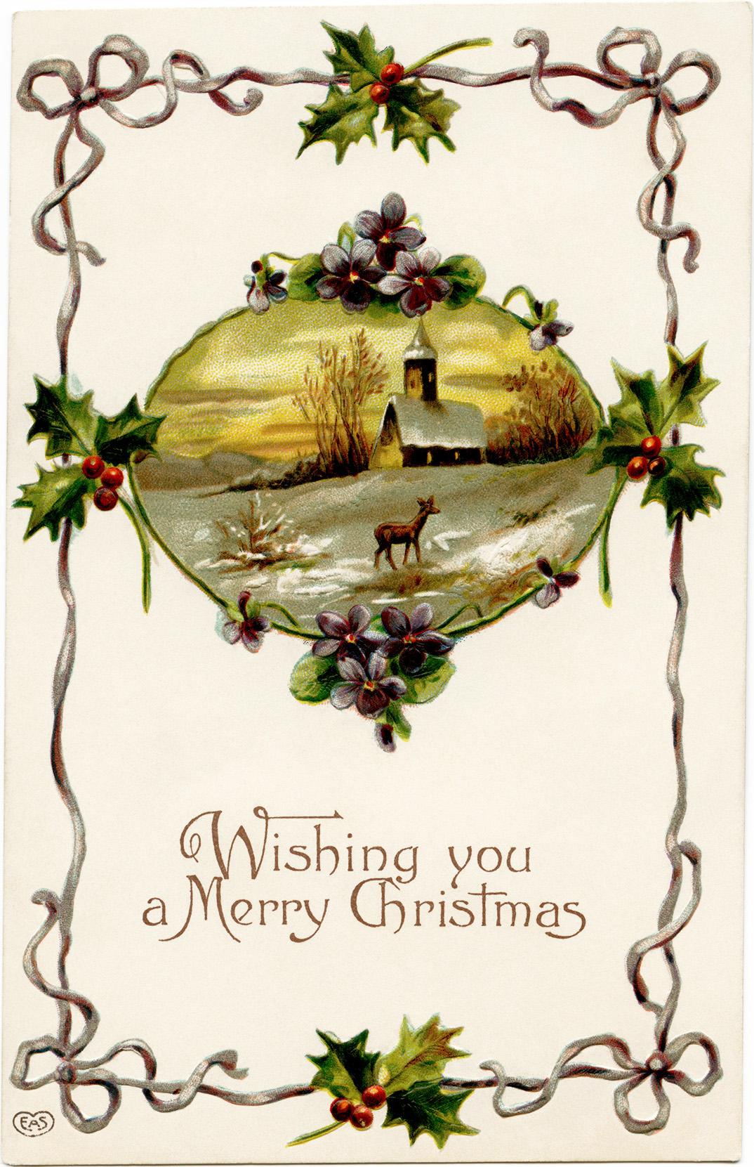 Vintage Printable Christmas Postcard Old Design Shop Blog