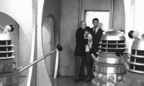"A Dalek battles a Mechanoid, in ""The Chase"" - 1967."