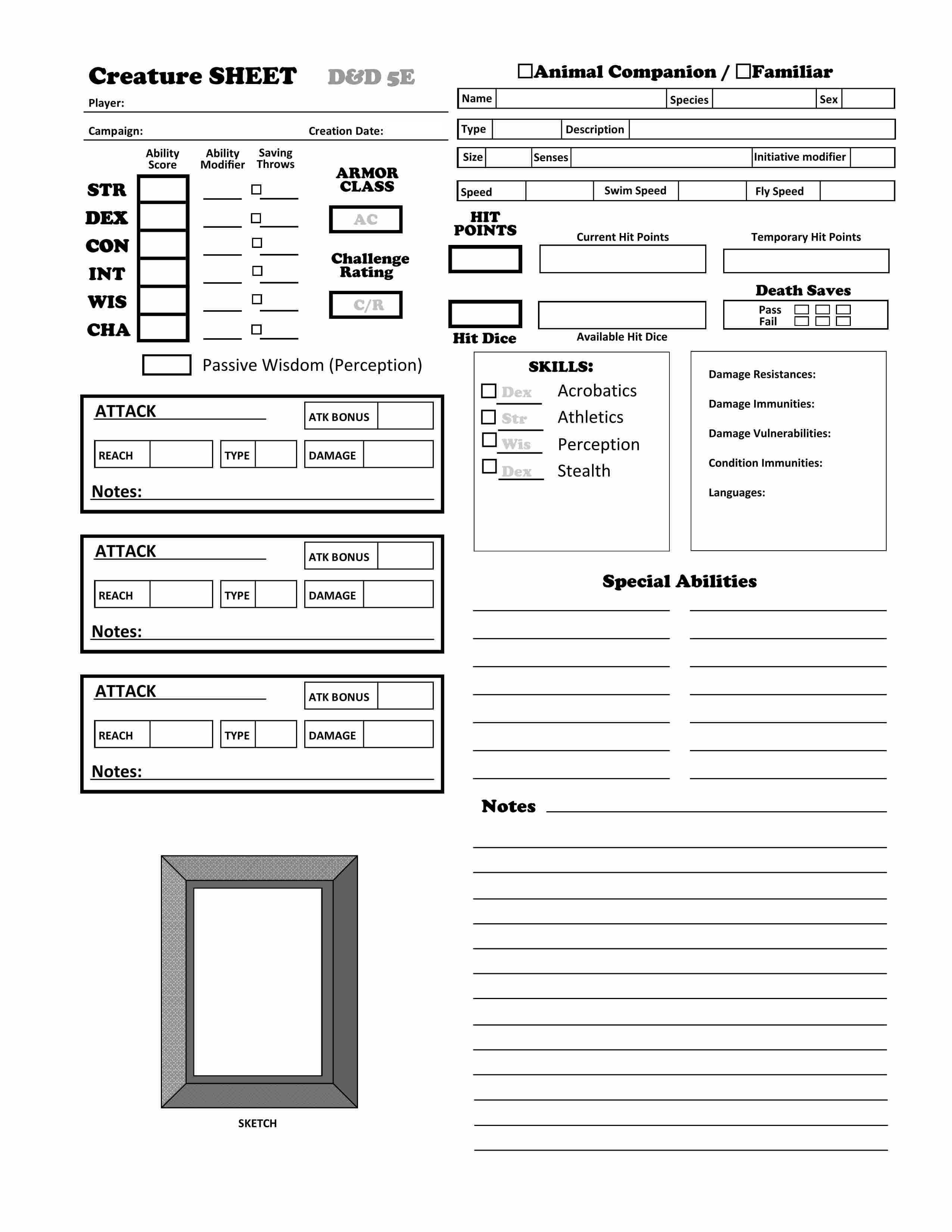 D Amp D 5e Animal Companion Familiar Character Sheet