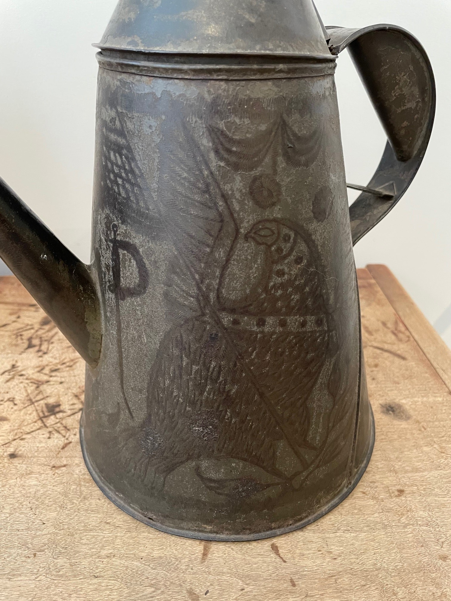 American decorated tin coffee pot rel=
