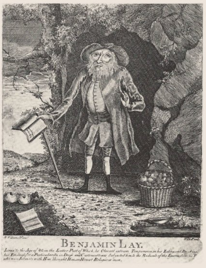 Benjamin Lay, etched and engraved by Henry Dawkins (w. 1754-1780), Philadelphia, probably c. 1760, after the oil on panel by William Williams shown on page 194. 915/n by Tim inches. Haverford College Library, Haverford, Pennsylvania; Quaker collection. Photograph by Theodore Brinton Hetzel.