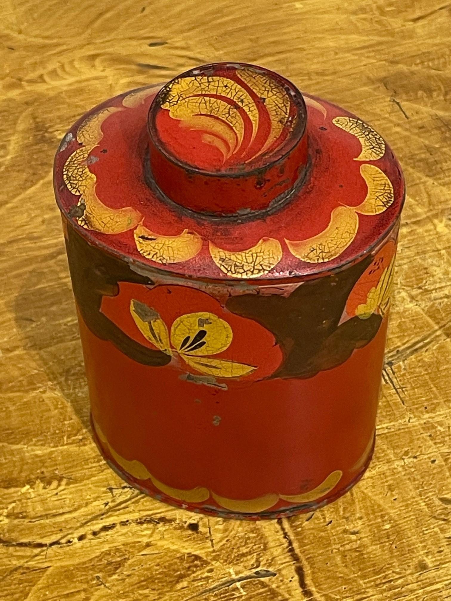 red toleware tea canister rel=