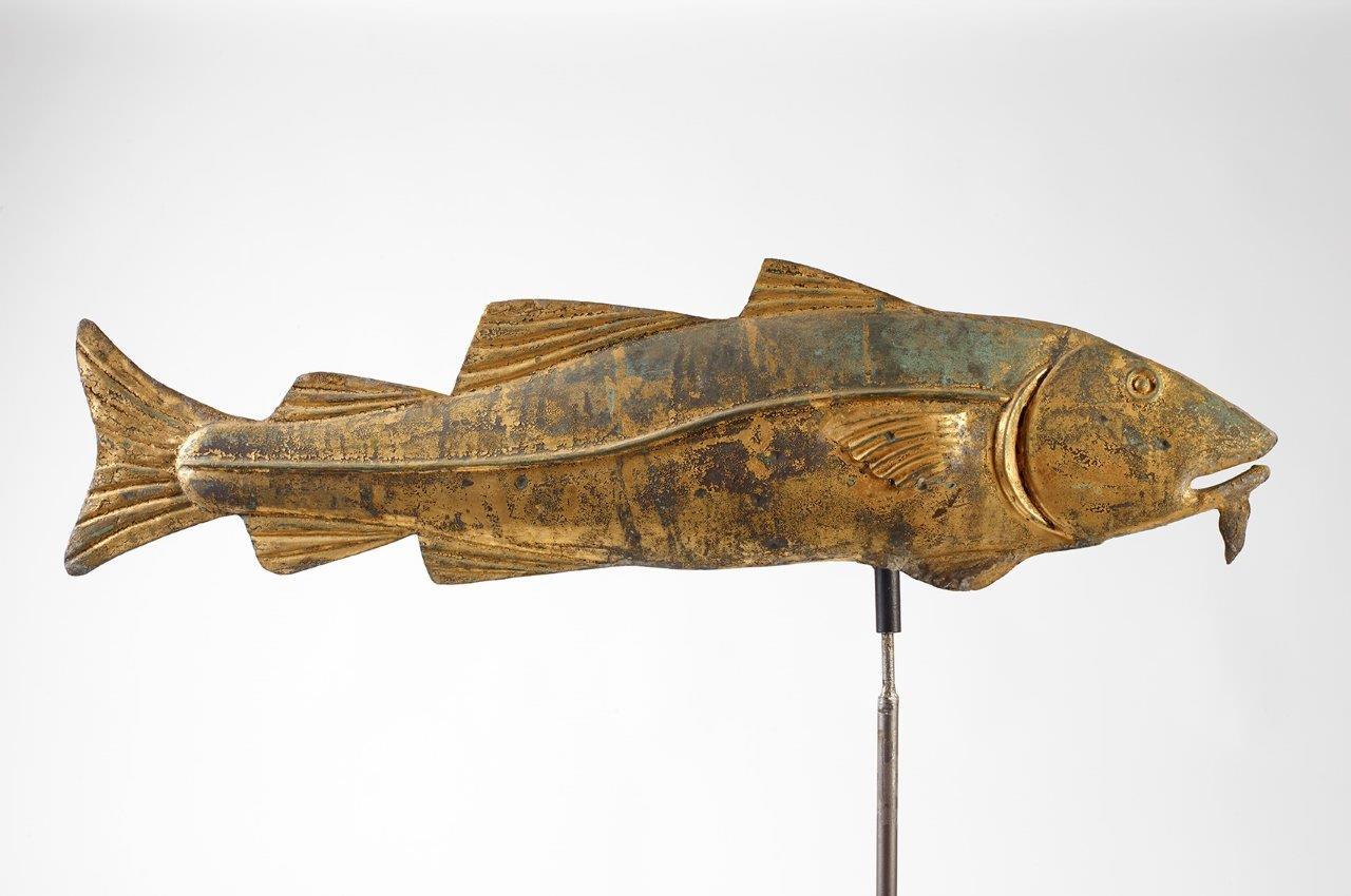 antique gilt fish weathervane rel=