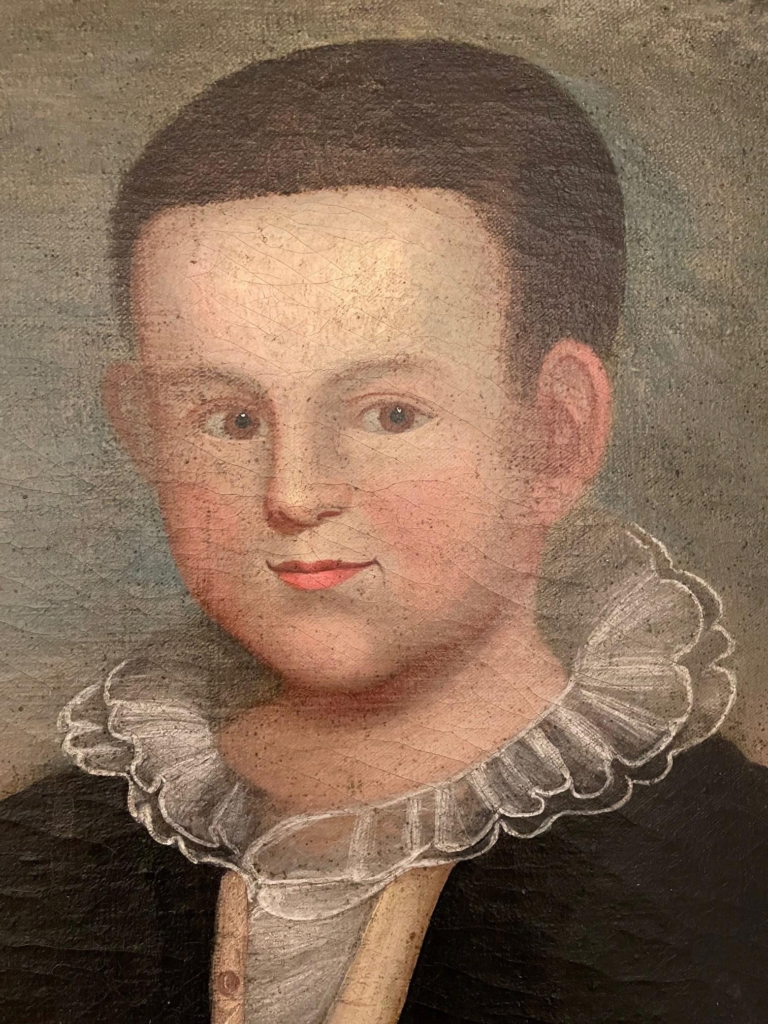 folk art portrait of a boy rel=