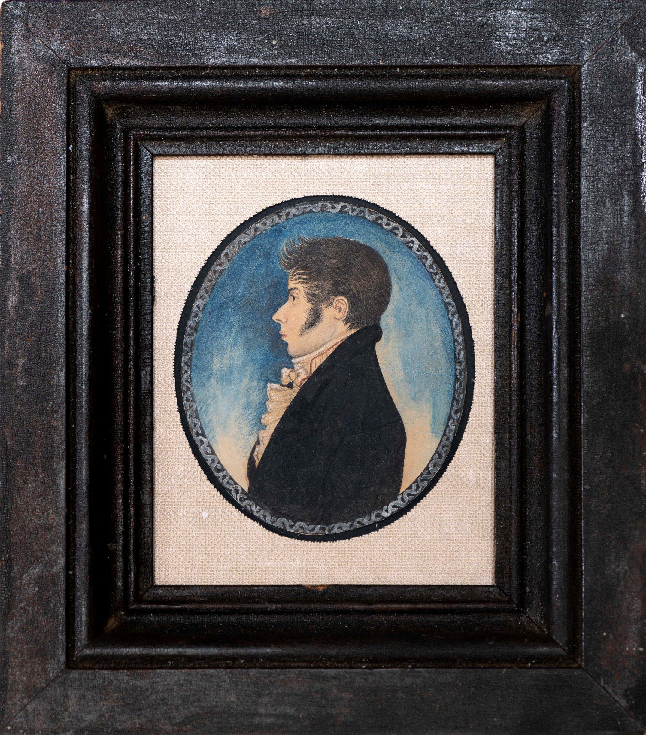 miniature watercolor profile portrait rel=