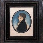 miniature watercolor profile portrait