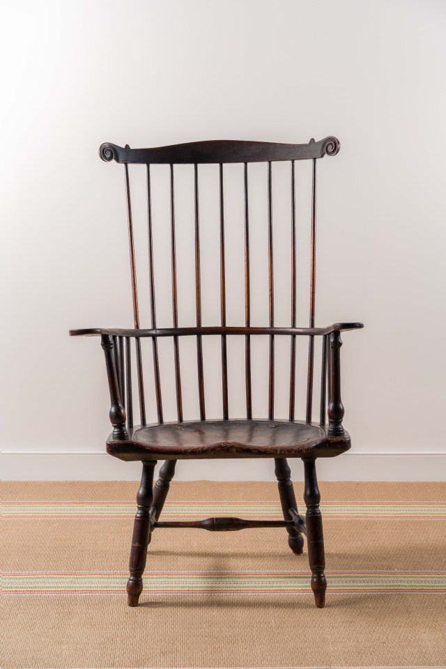 carved painted windsor armchair