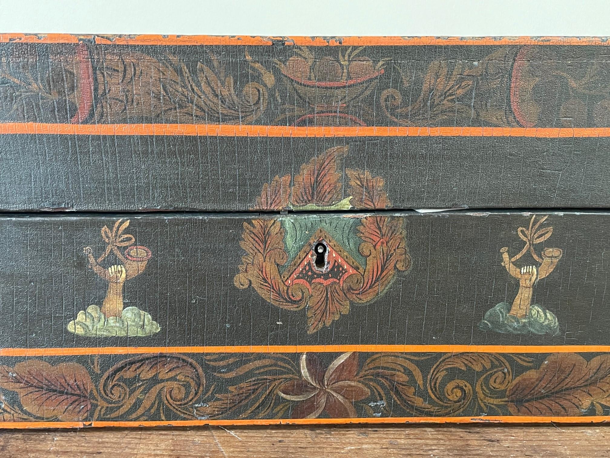 antique American lidded box rel=