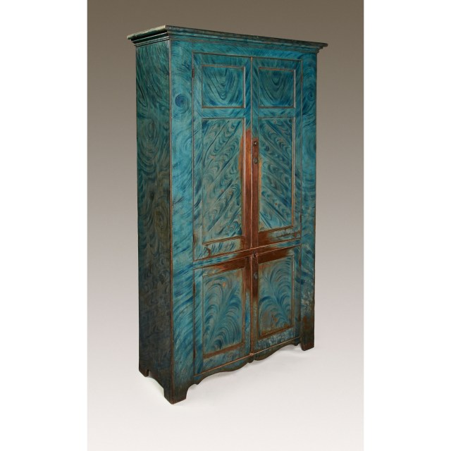 blue paint-decorated cupboard