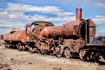 Abandoned locomotive at Bolivia's railroad graveyard