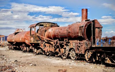 Abandoned locomotive at Bolivia's railroad graveyard