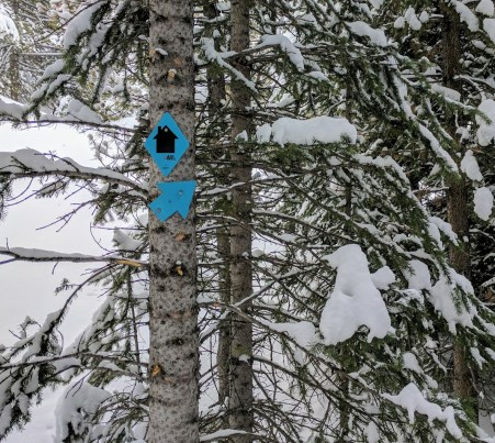 Typical trail marker on the way to Janet's Cabin