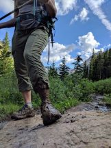 Muddy feet while hiking.