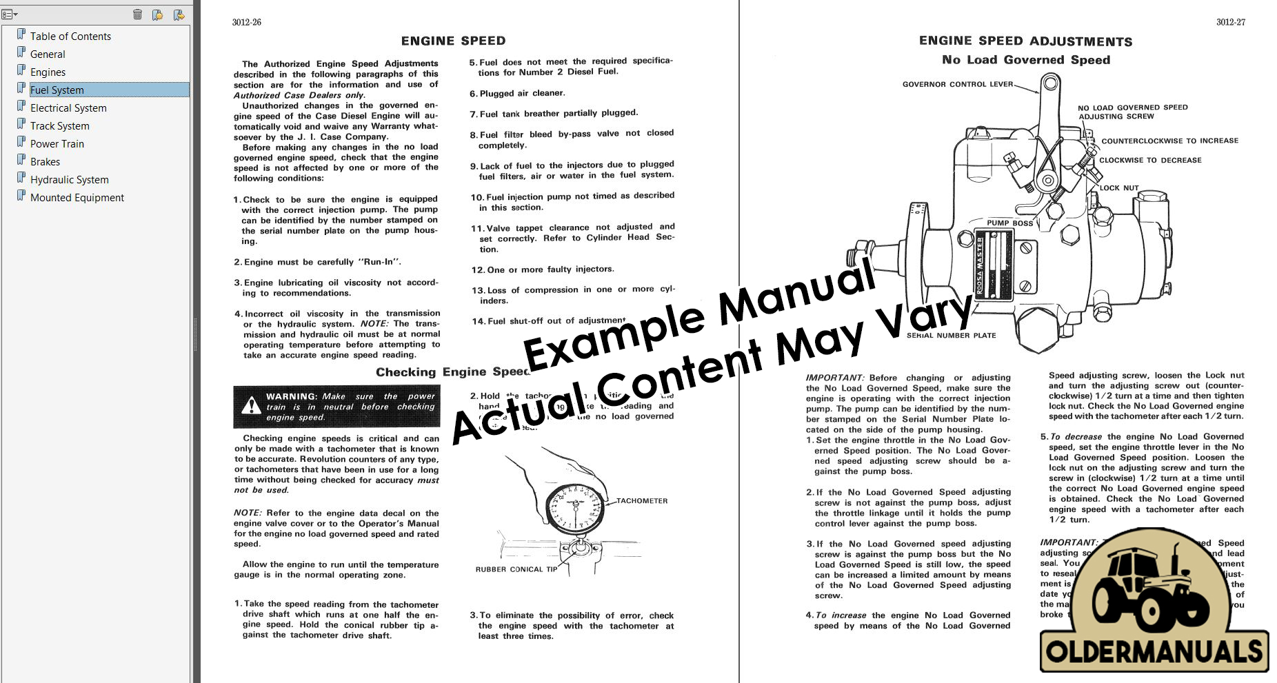 example from one of our manuals (actual manual contents may vary):