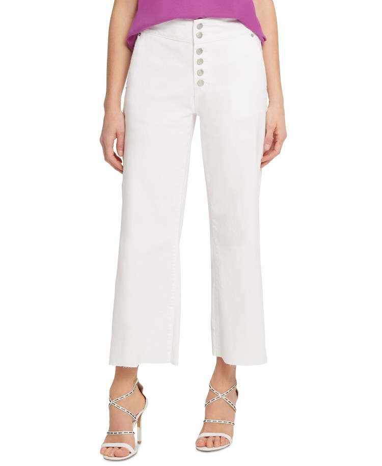How to Wear White - DKNY Wide Leg Pants