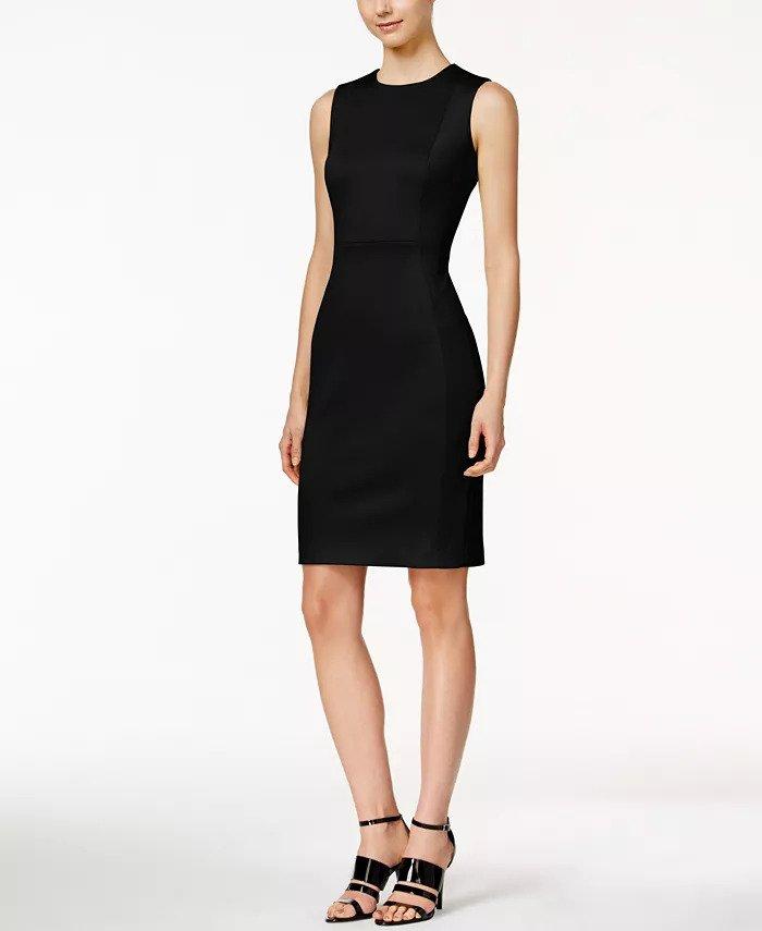 How to wear white Calvin Klein Scuba Sheath Dress