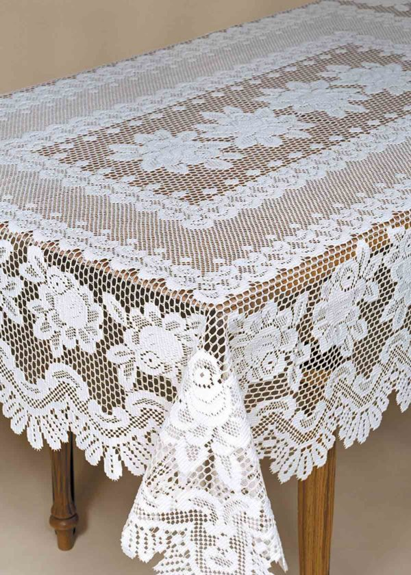 Heavy Weight Lace Tablecloths - Rose