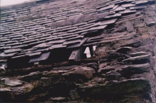 Close up of wood or what remains of rafter and wall-plate