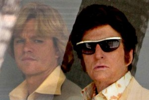 """Matt Damon and Michael Douglas in the HBO original movie, """"Behind the Candelabra,"""" a biopic about Liberace (Douglas) and his relationship with his younger lover (Damon). Douglas is wearing one of 250 pairs of Old Focal frames provided for the film."""