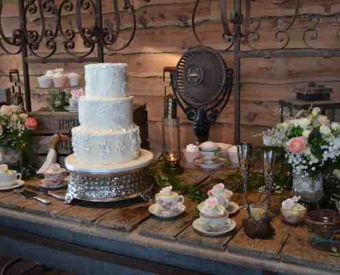 Cake Table and Tea on Stone Patio