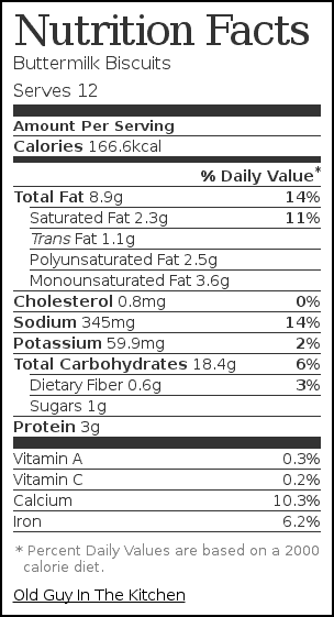 Nutrition label for Buttermilk Biscuits