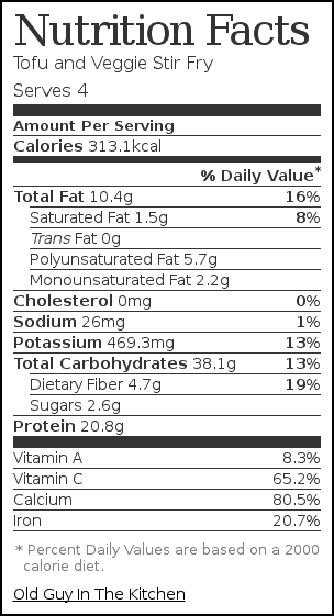 Nutrition label for Tofu and Veggie Stir Fry