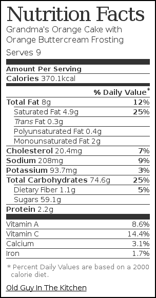 Nutrition label for Grandma's Orange Cake with Orange Buttercream Frosting