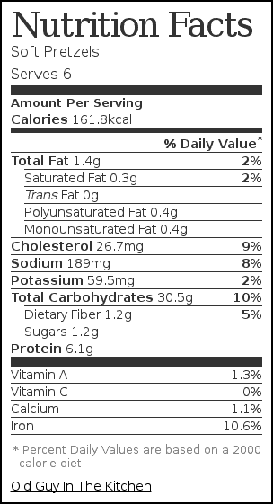 Nutrition label for Soft Pretzels