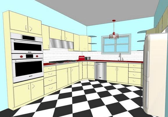 vintage steel kitchen cabinetry