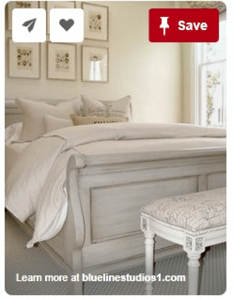 pinned painted sleigh bed
